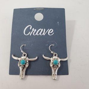 Crave Bull Head Skull Pierced Earrings Lightweight